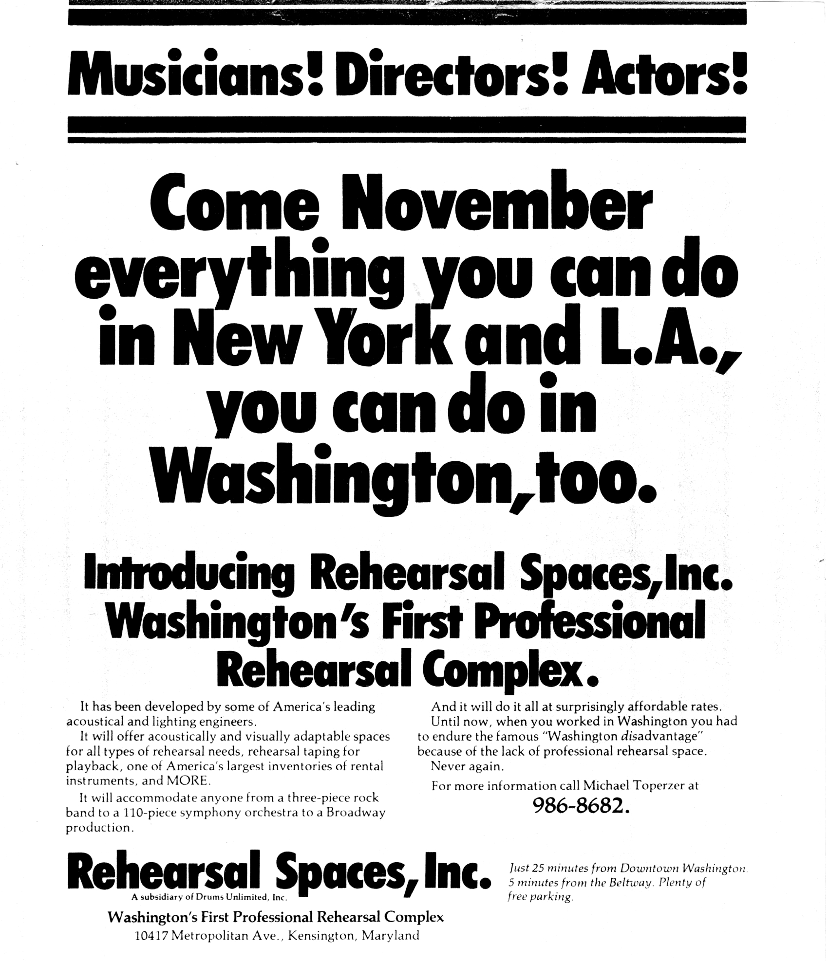 Rehearsal Room Advertisement